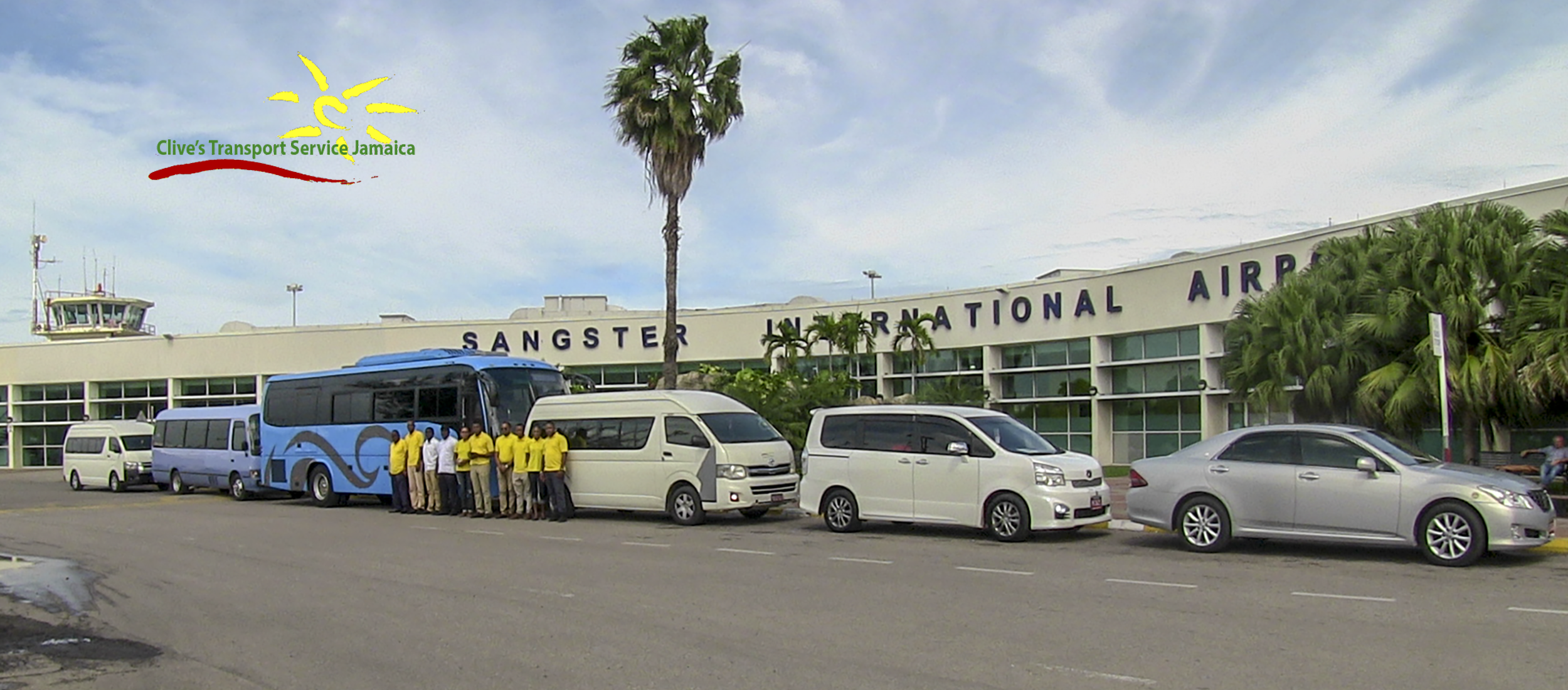 Clive's Transport Service Jamaica Staff and Vehicles at Sangster Internation Airport, Montego Bay Jamaica - www.clivestransportservicejamaica.com - www.clivestransportservicejamaica.net